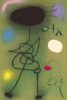 Joan Miró Femme et oiseau devant le solei Spanish Painters, Spanish Artists, Magritte, Miro Artist, Joan Miro Paintings, Hans Thoma, Francis Picabia, Jewish Art, Happy Art