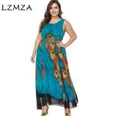 6b51ca78fc21 LZMZA Women Sleeveless Long beach Dress Summer Chiffon Dress Floral  Bohemian Maxi Dresses vestidos plus size