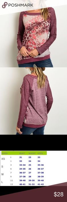 Mauve/Pink Graphic Thermal Top Cute mauve, pink & cream thermal top from Hem & Thread.  A wardrobe basic for Fall.  Material:  100% polyester.  Price is firm unless bundled. 😊 Hem & Thread Tops