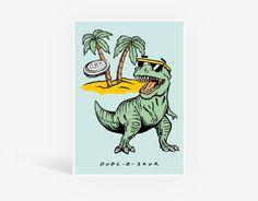 Radosaur Printable Poster - Kids Wall Art, Playroom Bedroom, Dinosaur T-Rex, Beach Frisbee Print, Fun Playful, Boys Room, Illustration