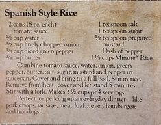 Rice Side Dishes, Vegetable Side Dishes, Tasty Dishes, Vegetable Recipes, Retro Recipes, Vintage Recipes, Mexican Food Recipes, Minute Rice Recipes, Side Dish Recipes