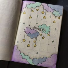 35 Beautiful and Enchanting November Bujo Ideas for Your Bullet Journal - - Doodle ideen - Bullet Journal Month, Bullet Journal Notebook, Bullet Journal Ideas Pages, Bullet Journal Spread, Bullet Journal Layout, Bullet Journal Inspiration, Bullet Journals, Bullet Journal November Ideas, Diy Journal Cover Ideas