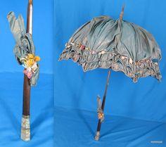 Antq Victorian Parasol Iridescent Silk Ribbonwork Flowers Mother of Pearl Handle