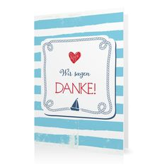 Dankeskarte Maritim in Eisvogel - Klappkarte flach lang #Hochzeit…