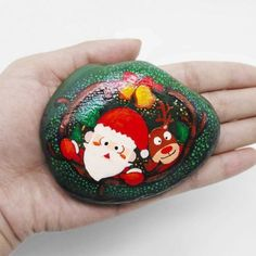 Items similar to Hand painted stone Hand painted pebbles Natural Home Decor Custom Painted Christmas gifts on Etsy Christmas Rock, Natural Christmas, Christmas Crafts For Kids, Christmas Bulbs, Christmas Decorations, Christmas Ideas, Pebble Painting, Stone Painting, Rock Crafts