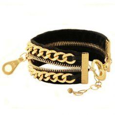 Black Zipper Bracelet Cuff
