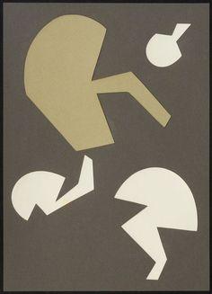 HANS ARP. Souvenir du pays d'Héracleès. 1954. Collage auf Pa