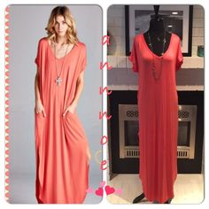 """""""ANYONE ANYWHERE"""" Coral Maxi OMG.  THIS IS MY FAVORITE NEW FIND ANY BODY TYPE CAN WEAR THISThis is a CORAL loose fit long dress.  It has pockets for comfort and side open detail.  It can be dressed up or down depending on occasion.  96% rayon 4% spandex  Made in U.S.AFIT GUIDE: (2,4) MEDIUM (6,8) LARGE (10,12).  MINT will be here 3/11BLACK will be here 3/14 let me help with sizing.. You MAY WANT TO GO DOWN A SIZE.. Depending on your height Dresses Maxi"""