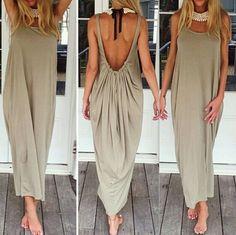 Zanzea Long Low Back Dress