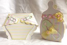 Baby set - Diaper shaped card and baby bottle treat box - Mary Ann Guth