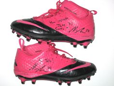 30d45b46b Nick Bellore New York Jets Game Worn   Signed Pink   Black Breast Cancer  Awareness Nike Superbad Pro Cleats - Worn for 23 Yard Reception from Tim  Tebow on ...