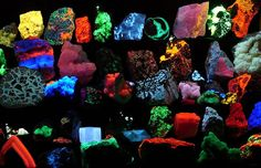 Fluorescent minerals glow when electrons become excited and move within the mineral's atomic structure, releasing energy in the form of light. Photo by Hannes Grobe.