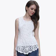 Casual, Women, Candy, Plus Size, Sleeveless, Embroidery, Chiffon, Lace, Vest, Banggood