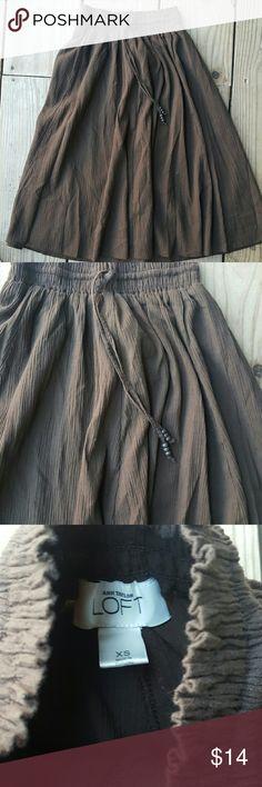 "Ann Taylor LOFT Prarie skirt NWOT Brown, cotton, drawstring, elastic waist, size xs, length 24"" LOFT Skirts Midi"