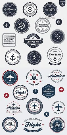 Vintage aviation and nautical labels. Maybe could somehow transfer onto drawer knobs?