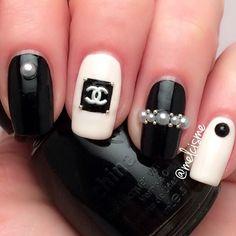 Chic nails - Chanel nail art.  Photo taken by meƖıssɑ ❤︎ - INK361