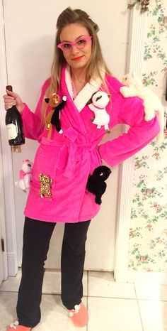 DIY Crazy cat lady costume - I bought the robe and glasses on Amazon. Then, I safety pinned old cat stuffed animals and beanie babies from when I was a kid. I did find a couple extra stuffed cats at Walmart. A box of wine would be hilarious in place of the bottle. I owned the slippers and rollers. After Halloween, I removed all the cats from the robe easily because they were only pinned. I can now wear the robe and the cats were not damaged! Best, cheapest, and easiest Halloween costume…