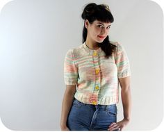 80s COTTON CANDY CARDI  Vintage Short Sleeved by DuetVintage, $28.00