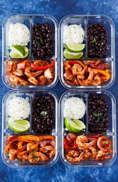 These shrimp fajita bowls are packed with flavor and such an easy meal prep recipe. Flavorful shrimp, colorful bell peppers, black beans and cilantro-lime rice in a convenient grab and go box. s Meal Prep Recipe Best Meal Prep, Lunch Meal Prep, Healthy Meal Prep, Easy Healthy Recipes, Healthy Snacks, Easy Meals, Healthy Eating, Healthy Meals For One, Meal Prep Bowls