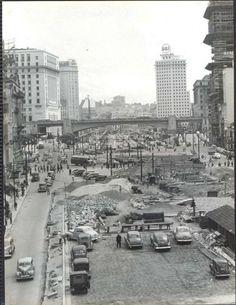 São Paulo - Anhangabaú em Obras - Fotografia antiga de grandes dimensões. Mede 24x18 cm.