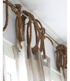 Use rope as curtain ring to add a nautical touch | DIY Home Decor Ideas on a Budget | Easy and Creative Decor Ideas | Click for Tutorial
