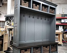 Entryway Cubby and Bench, Wall Storage Cubical with Matching Bench, Hallway Coat Rack and Boot Bench Hall Tree Storage Bench, Cubby Storage, Bench With Storage, Locker Storage, Tree Bench, Shoe Storage, Garage Wall Storage, Garage Walls, Storage Organization