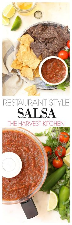This Restaurant Style Salsa is bursting with a delicious combo of flavors, has a wee bit of heat, and comes together in about 5 minutes! The simple ingredients are tossed in a food processor and blended, then it's good to go. @theharvestkitchen.com