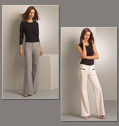 Slightly flared legged pants A, B (semi-fitted through the hip) have below-waistline contour waistband with fly zipper closing, front and back welt pockets, back button loops