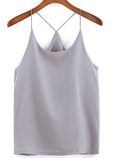 Online shopping for Spaghetti Strap Grey Cami Top from a great selection of women's fashion clothing & more at MakeMeChic. Girly Outfits, Casual Outfits, Cute Outfits, Summer Outfits, Girl Fashion, Fashion Outfits, Spaghetti Strap Top, Cami Tops, Spring Summer Fashion