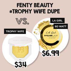 LA Girl Strobe Lite #60watt is the perfect dupe for Fenty Beauty Killawatt #Trophywife shop at - http://www.ikatehouse.com/la-girl-strobe-lite-strobing-powder.html