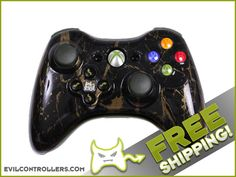 Black Gold Marble Custom Xbox 360 Controller with Evil D-Pad - Brand New