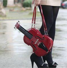Chic 2017 Women's Creative Violin Shape Handbag/Purse Long Shoulder Bag