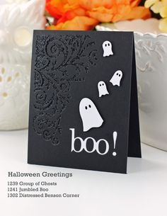 Create black card base, cut same size black panel and die cut flourish. Layer over glitter and attach to base. Embellish with white die cut ghost and boo! Poppstamps dies: Distressed Benson Corner Jumbled Boo Group of Ghosts Halloween Paper Crafts, Halloween Fun, Halloween Cupcakes, Diy Halloween Cards, Fall Cards, Holiday Cards, Christmas Cards, Card Making Inspiration, Making Ideas
