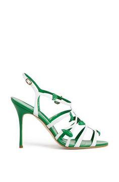 Cage sandal by Manolo Blahnik Charles James, Zapatos Shoes, Shoes Heels, Balenciaga, Manolo Blahnik Heels, Walk In My Shoes, Louboutin, Green Shoes, Kinds Of Shoes