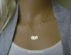 Sideways Infinity and Initial Necklace - Three Initial Disc - Petite and Dainty - Personalized - Birthday Gift - Faith - Mommy Necklace on Etsy, $35.00