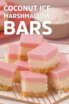 These Coconut Ice Marshmallows Bars are three layers of joy 😋 Fun Desserts, Dessert Recipes, Banting Recipes, Sticky Toffee Pudding, Party Treats, Food Dishes, Fudge, Sweet Recipes, Sweet Tooth