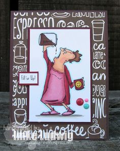 Art Impressions Rubber Stamps: Hot Java Mama Clear Stamps available at Hobby Lobby. Handmade card.