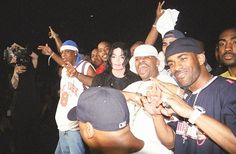 """""""I know Michael Jackson better come from behind that muthafuckin' curtain""""  Jay-Z, Michael Jackson, Dame Dash, and DJ Clue backstage at the 2001 Summer Jam in New York."""