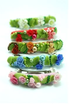 Polymer Clay Floral Hair Clips