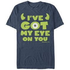 Maybe there really are monsters watching you from under the bed with the Monsters Inc. Mike Wazowski Eye on You Heather Navy Blue T-Shirt. Mike Wazowskis eye makes an appearance in the phrase Ive Got My Eye On You on this blue Monsters Inc. Funny Disney Shirts, Disney Shirts For Family, Family Shirts, Disney Tees, Disney Family, Funny Tshirts, Monsters Inc Shirt, Mike From Monsters Inc, Victoria Secret