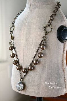 Swarovski Crystal and Pearl Necklace Estate by PemberleyCollection, $46.00