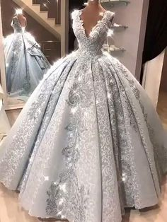 Ball Gown Prom Dress With Lace Beads Floor-Length Silver Gray Quinceanera Dress . Ball Gown Prom Dress With Lace Beads Floor-Length Silver Gray Quinceanera Dress Sweet 16 Dresses fo Ball Gowns Prom, Ball Dresses, Bridal Dresses, Dress Wedding, Colorful Wedding Dresses, Ball Gown Wedding Dresses, Debut Dresses, Cotillion Dresses, Arabic Wedding Dresses