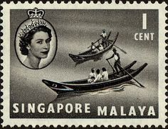 1966 - Stamp: Chinese Sampans (Singapore) (Queen Elizabeth II and Views)