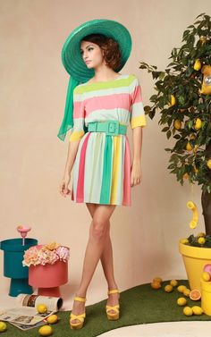 alice + olivia | anita 3/4 sleeve stripe dress with belt