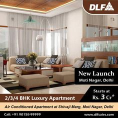 DLF Midtown in Moti Nagar, New Delhi at Shivaji Marg offerings 2, 3 & 4 BHK Apartments with ample greenery, roomy space and captivating appearance and many more. Call @ 90158-9999 to know more about in detail. #dlfmidtownapartmentsmotinagar #dlfmidtown #dlfmidtownmotinagar #dlfmidtownmotinagarprice #dlfmotinagar2bhkprice #dlfmotinagar3bhkprice #dlfmotinagar4bhkprice #dlfmidtowndelhi Luxury Apartments, Luxury Homes, New Launch, New Delhi, Greenery, Detail, Space, Modern, Furniture