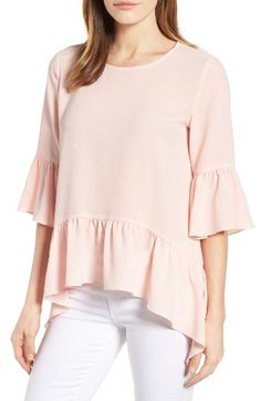 Free shipping and returns on Gibson Ruffled Handkerchief Hem Top at Nordstrom.com. Flirty, flouncy ruffles are the main attraction of this simple, easy-fitting top in textured crepe.