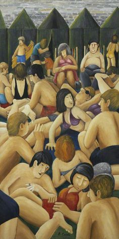 "Beryl Cook (British, 1926–2008)  ""Beach at Looe"""