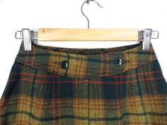 Vintage 60s Wool Skirt Skort Green Mustard Tartan by Iterations