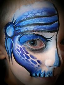 Skull Pirate Onestroke face paint face painting reptile teeth quick fast design half face eye design