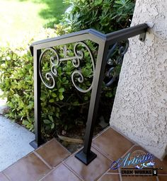 Photo of Artistic Iron Works - Las Vegas, NV, United States. Wrought iron stair railings with Fleur de Lis finial Porch Handrails, Front Porch Railings, Iron Handrails, Iron Railings, Banisters, Wrought Iron Stair Railing, Wrought Iron Decor, Wrought Iron Fences, Outside Stair Railing